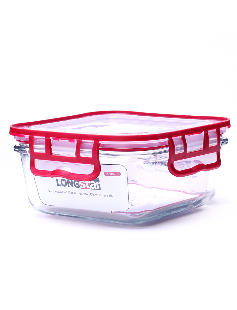 550ml glass square food container