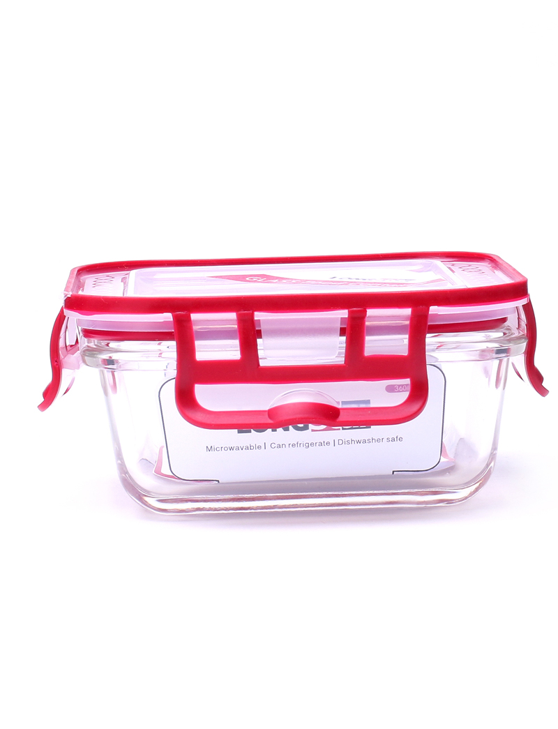 360ml glass square food container
