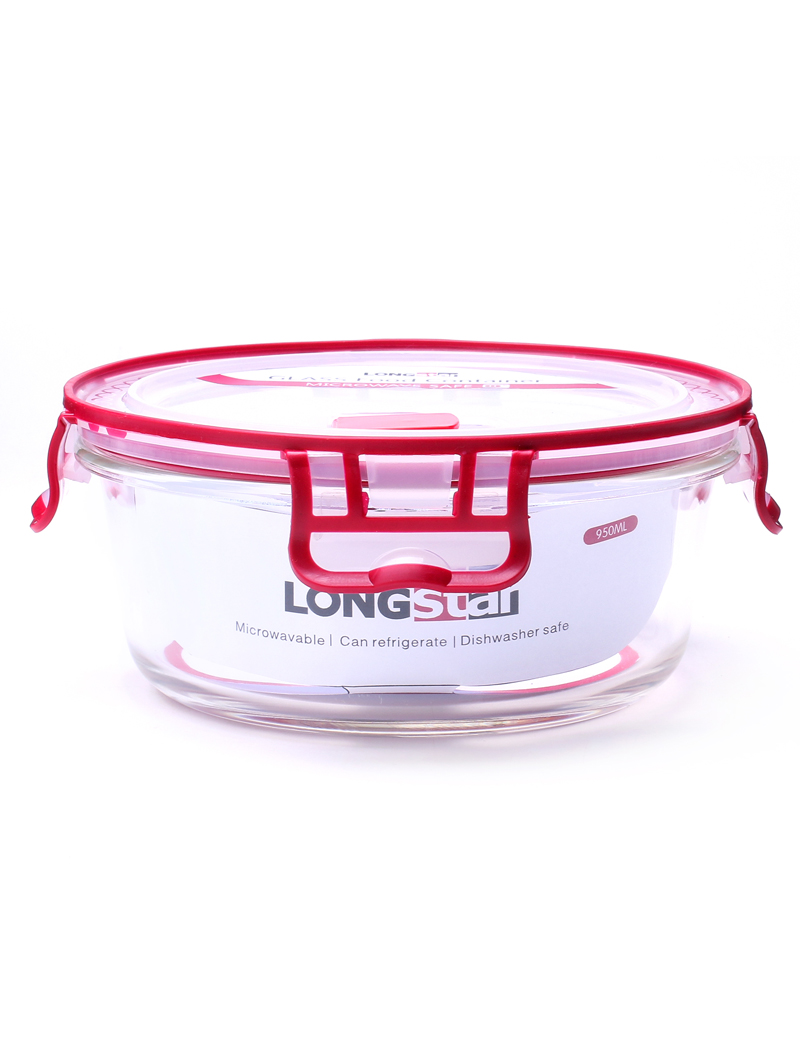950ml glass round food container